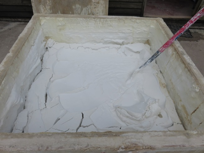 Lime putty in it's raw state, before sands or pozzolan are added.